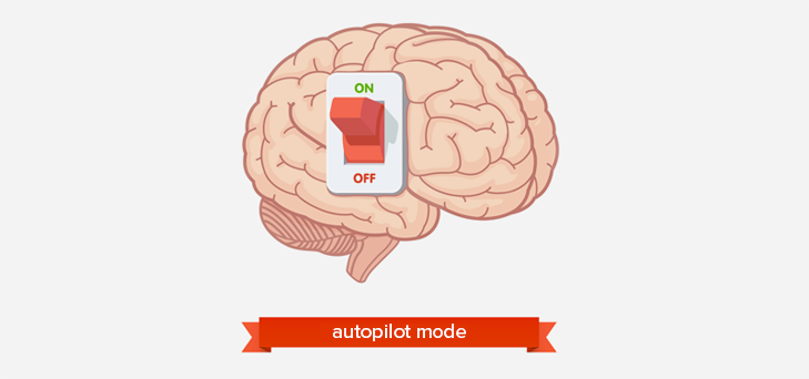 Brain on off button with autopilot mode text