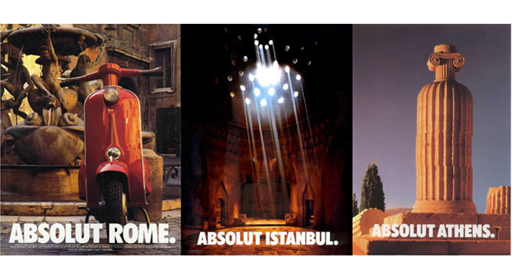 absolut vodka, bottle siluet ads, roma, istanbul, athens