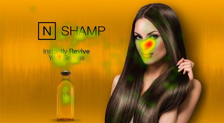 şampuan afişinde bulunan güzel kadın eye tracking