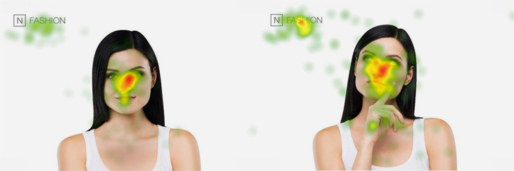 neuromarketing example, woman looking different areas, eye tracking