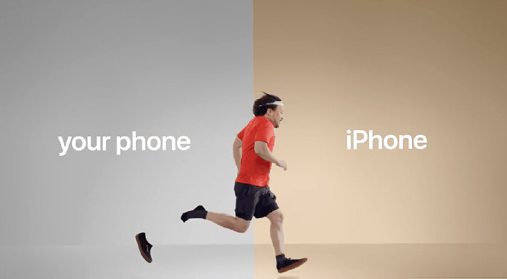 your phone iphone reklamı, koşan adam