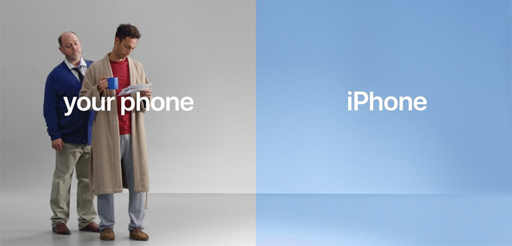 your phone iphone reklamı ve iki kişi