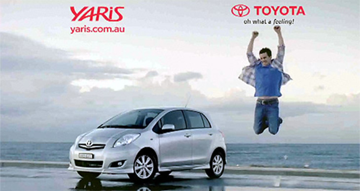 toyota yaris advertisement, car and jumping man