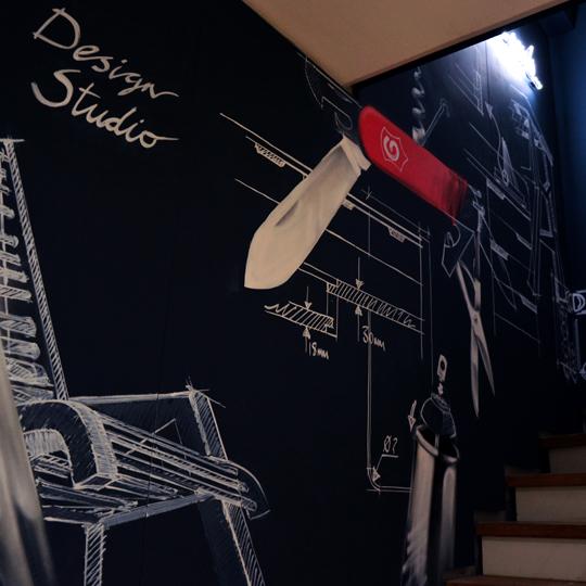 gravity mimarlık ofisi illüstrasyonlu duvarlar