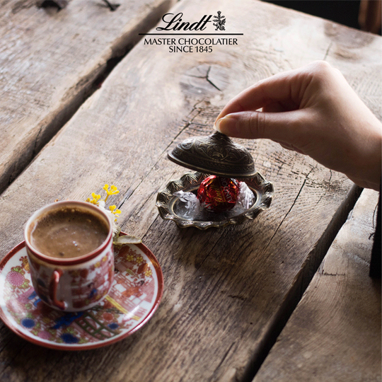 lindor and turkish coffee social media post